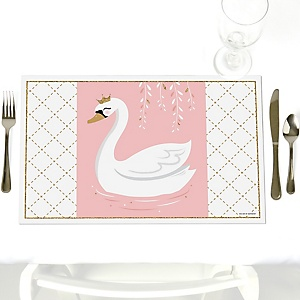 Swan Soiree - White Swan - Party Table Decorations - Party Placemats - Set of 12