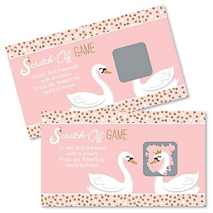 Swan Soiree - White Swan Baby Shower or Birthday Party Game Scratch Off Cards - 22 ct