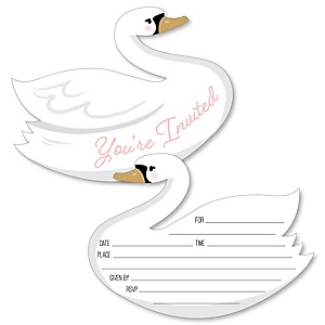 Swan Soiree - Shaped Fill-In Invitations - White Swan Baby Shower or Birthday Party Invitation Cards with Envelopes - Set of 12