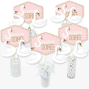 Swan Soiree - White Swan Baby Shower or Birthday Party Centerpiece Sticks - Table Toppers - Set of 15
