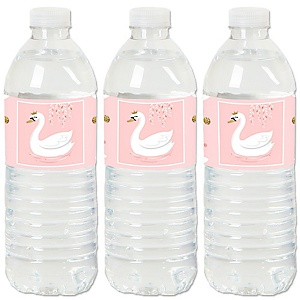Swan Soiree - White Swan - Party Water Bottle Sticker Labels - Set of 20