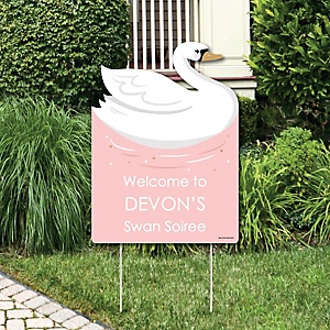 Swan Soiree - Party Decorations - White Swan Baby Shower or Birthday Party Personalized Welcome Yard Sign