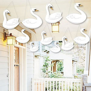 Hanging Swan Soiree - Outdoor White Swan Baby Shower or Birthday Party Hanging Porch and Tree Yard Decorations - 10 Pieces