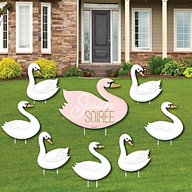 Swan Soiree - Yard Sign and Outdoor Lawn Decorations - White Swan Baby Shower or Birthday Party Yard Signs - Set of 8
