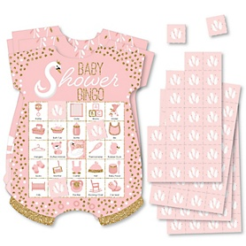 Swan Soiree - Picture Bingo Cards and Markers - White Swan Baby Shower Shaped Bingo Game - Set of 18