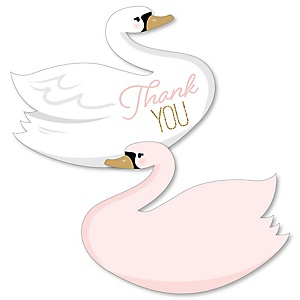 Swan Soiree - Shaped Thank You Cards - White Swan Baby Shower or Birthday Party Thank You Note Cards with Envelopes - Set of 12