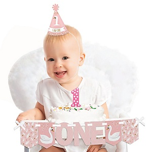 Swan Soiree 1st Birthday - First Birthday Girl Smash Cake Decorating Kit - High Chair Decorations