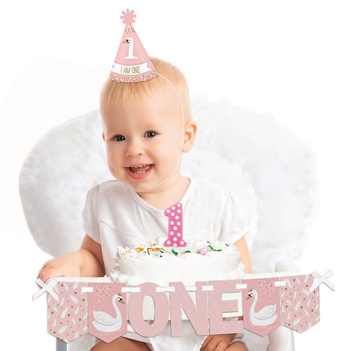 Swan Soiree 1st Birthday - First Birthday Girl Smash Cake Decorating Kit - High Chair Decorations