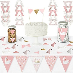 Swan Soiree - DIY Pennant Banner Decorations - White Swan Baby Shower or Birthday Party Triangle Kit - 99 Pieces
