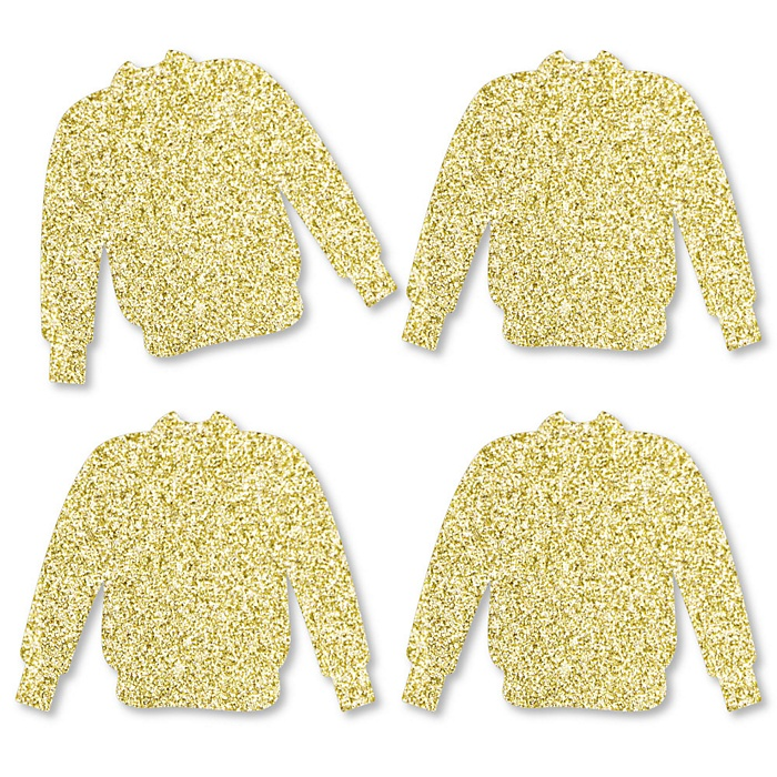 Gold Glitter Ugly Sweater - No-Mess Real Gold Glitter Cut-Outs - Holiday & Christmas Party Confetti - Set of 24