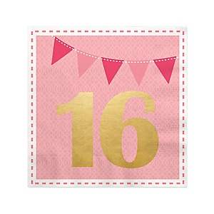 Sweet 16 with Gold Foil - 16th Birthday Party Cocktail Beverage Napkins - 16 ct
