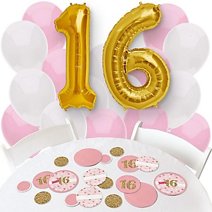 Sweet 16 - Confetti and Balloon Birthday Party Decorations - Combo Kit