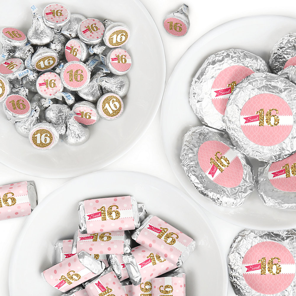 Groovy Sweet 16 Mini Candy Bar Wrappers Round Candy Stickers And Circle Stickers 16Th Birthday Party Candy Favor Sticker Kit 304 Pieces Complete Home Design Collection Epsylindsey Bellcom