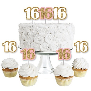 Sweet 16 - Dessert Cupcake Toppers - 16th Birthday Party Clear Treat Picks - Set of 24