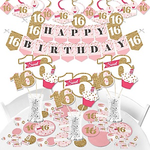 Sweet 16 - 16th Birthday Party Supplies - Banner Decoration Kit - Fundle Bundle