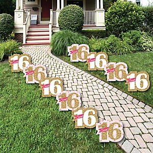 Sweet 16 - Sweet Sixteen Lawn Decorations - Outdoor Birthday Party Yard Decorations - 10 Piece