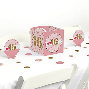 Sweet 16 - 16th Birthday Party Centerpiece and Table Decoration Kit