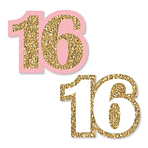 Sweet 16 - DIY Shaped Birthday Party Paper Cut-Outs - 24 ct