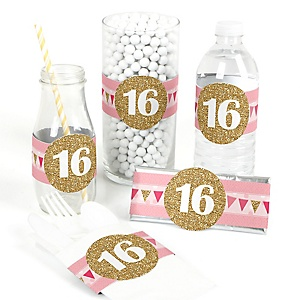 Sweet 16 - DIY Birthday Party Wrappers - 15 ct