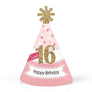 Sweet 16 - Personalized Mini Cone 16th Birthday Party Hats - Small Little Party Hats - Set of 10
