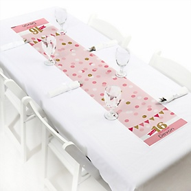 Sweet 16 - Personalized Birthday Party Petite Table Runner