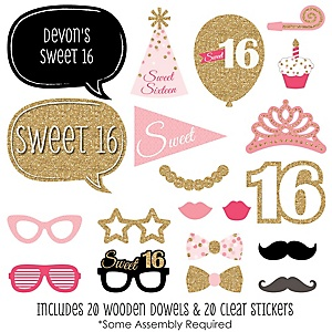 Sweet 16 - 20 Piece Photo Booth Props Kit