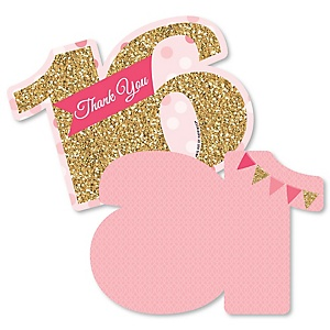 Sweet 16 - Shaped Thank You Cards - 16th Birthday Party Thank You Note Cards with Envelopes - Set of 12