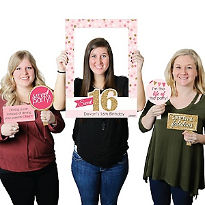 Sweet 16 - Personalized Birthday Party Selfie Photo Booth Picture Frame & Props - Printed on Sturdy Material