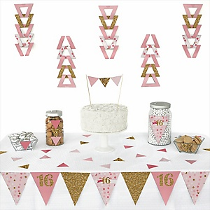 Sweet 16 -  Triangle Birthday Party Decoration Kit - 72 Piece
