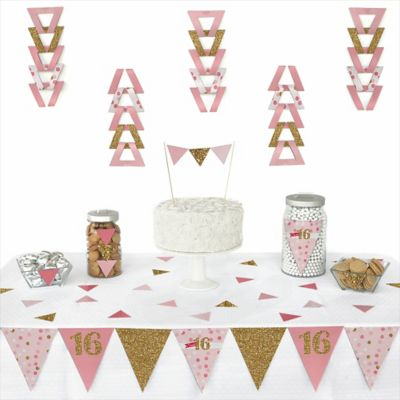 Sweet 16 - 72 Piece Triangle Birthday Party Decoration Kit  sc 1 st  Big Dot of Happiness & Sweet 16 - Birthday Party Theme | BigDotOfHappiness.com