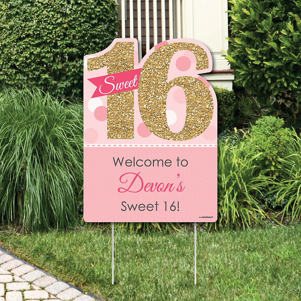 Sweet 16 - Party Decorations - Birthday Party Personalized Welcome ...