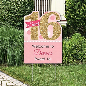 Sweet 16 - Party Decorations - Birthday Party Personalized Welcome Yard Sign