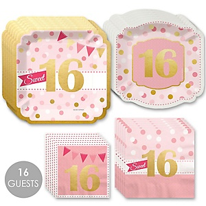 Sweet 16 with Gold Foil - 16th Birthday Party Tableware Plates and Napkins - Bundle for 16