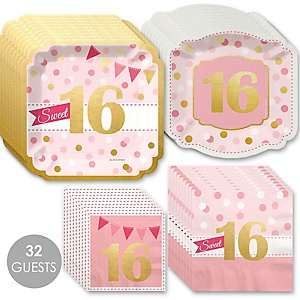 Sweet 16 with Gold Foil - 16th Birthday Party Tableware Plates and Napkins - Bundle for 32