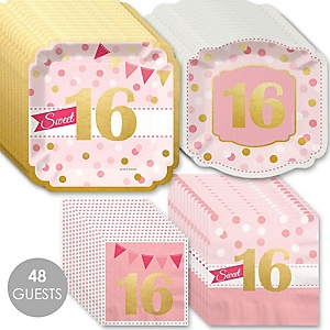 Sweet 16 with Gold Foil - 16th Birthday Party Tableware Plates and Napkins - Bundle for 48