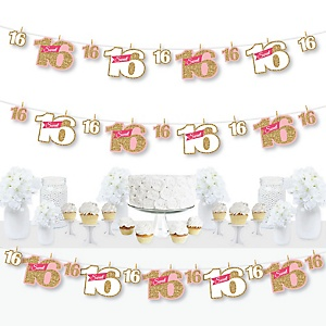 Sweet 16 - 16th Birthday Party DIY Decorations - Clothespin Garland Banner - 44 Pieces