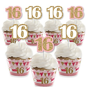 Sweet 16 - Cupcake Decorations - 16th Birthday Party Cupcake Wrappers and Treat Picks Kit - Set of 24