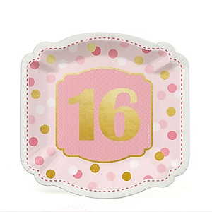 Sweet 16 with Gold Foil - 16th Birthday Party Dessert Plates - 16 ct