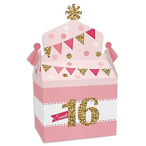 Sweet 16 - Treat Box Party Favors - 16th Birthday Party Goodie Gable Boxes - Set of 12