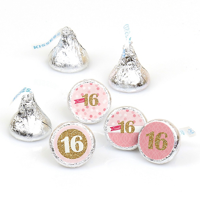 Sweet 16 - Round Candy Labels 16th Birthday Party Favors - Fits Hershey's Kisses - 108 ct