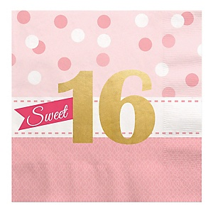 Sweet 16 with Gold Foil - 16th Birthday Party Luncheon Napkins - 16 ct