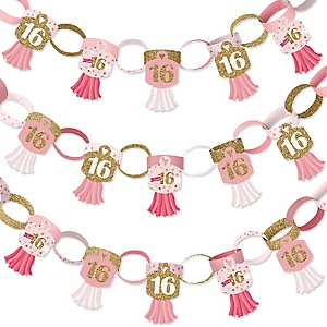 Sweet 16 - 90 Chain Links and 30 Paper Tassels Decoration Kit - 16th Birthday Party Paper Chains Garland - 21 feet