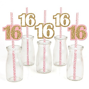 Sweet 16 - Paper Straw Decor - Birthday Party Striped Decorative Straws - Set of 24