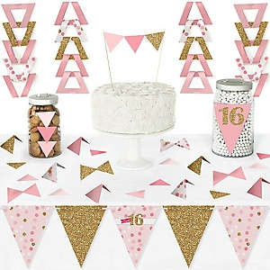 Sweet 16 - DIY Pennant Banner Decorations - 16th Birthday Party Triangle Kit - 99 Pieces