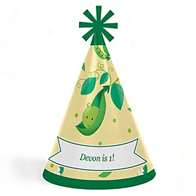 Sweet Pea in a Pod - Personalized Cone First Birthday Party Hats for Kids and Adults - Set of 8 (Standard Size)