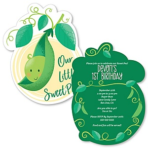 Sweet Pea in a Pod - Shaped First Birthday Party Invitations - Set of 12