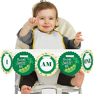Sweet Pea in a Pod 1st Birthday - I am One - First Birthday High Chair Birthday Banner