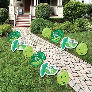Sweet Pea in a Pod - Lawn Decorations - Outdoor Baby Shower or First Birthday Party Yard Decorations - 10 Piece