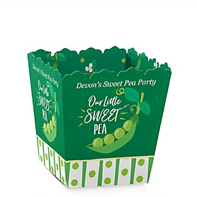 Sweet Pea in a Pod - Party Mini Favor Boxes - Personalized Baby Shower or First Birthday Party Treat Candy Boxes - Set of 12