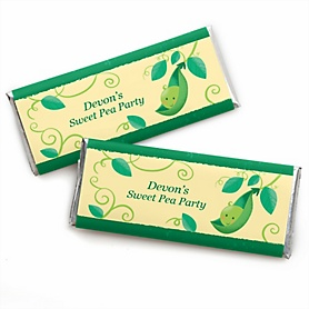 Sweet Pea in a Pod - Personalized Candy Bar Wrapper Baby Shower or First Birthday Party Favors - Set of 24